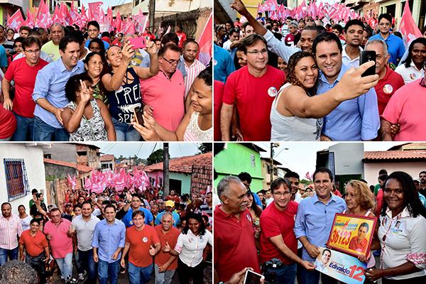 Prefeito Edivaldo e o candidato a voce Júlio Pinheiro são recebidos com festa na Vila Embratel