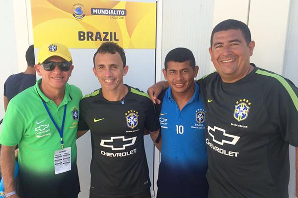 EUrico Pacífico, Murilo Dias, Datinha e Chicão na Seleção Brasileira de Beach Soccer