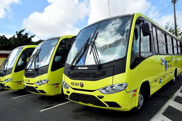 Micro-ônibus com ar-condicionado reforçam o sistema de transportes no Centro de São Luís