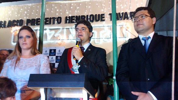 Primeira-dama Agnes Oliveira, prefeito Francisco Nagib e vice prefeitoRicardo Torres